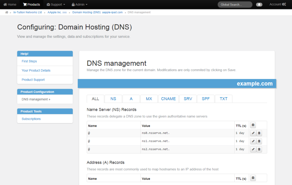DNS Screenshot